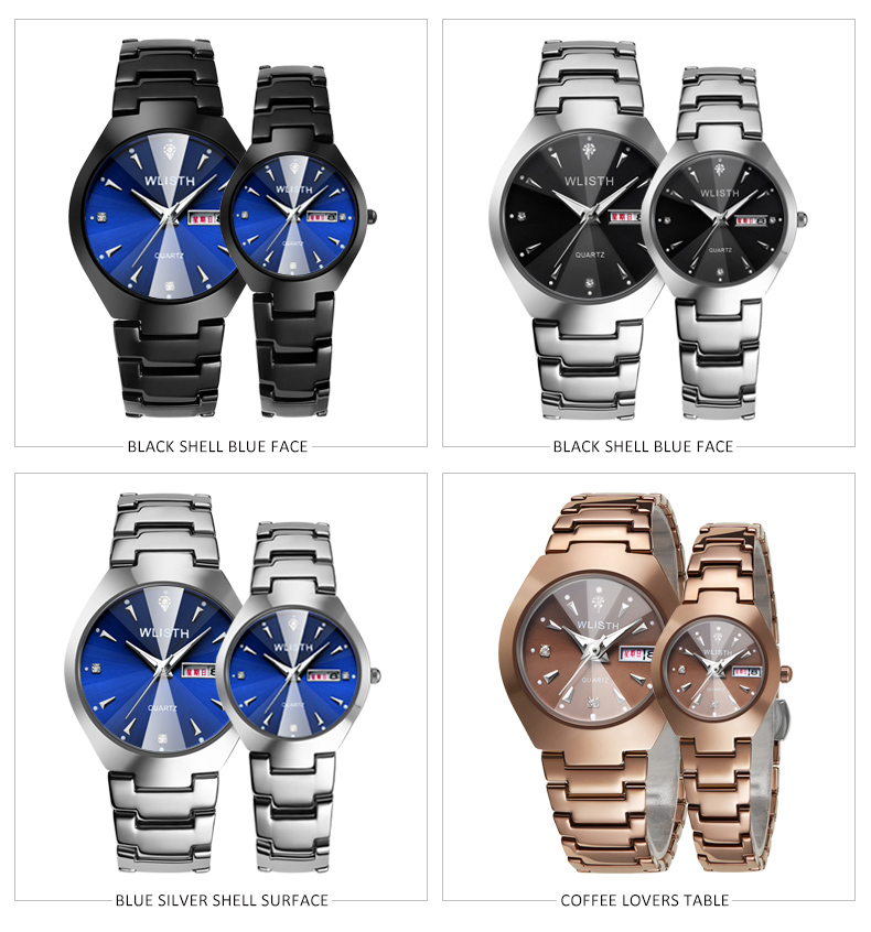 Lovers Watches Luxury Quartz Wrist Watch for Men and Women Hodinky Dual Calender Week Steel Saat Reloj Mujer Hombre Couple Watch image