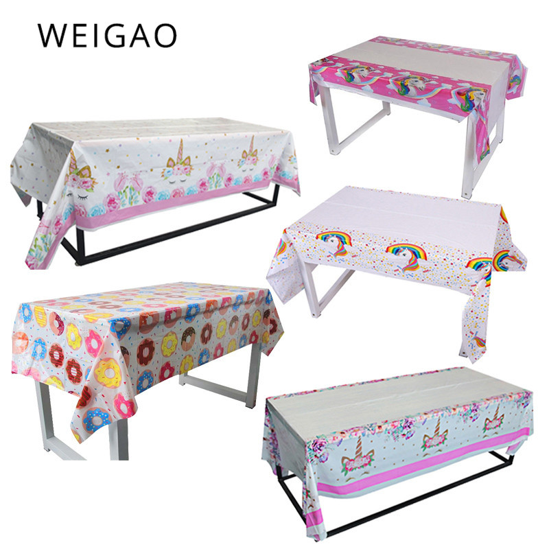 WEIGAO Unicorn Party Tablecloth Plastic Birthday Party Decoration For Kids Baby Shower Decor Table Cover Unicorn Theme Party