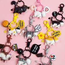 2020 New Lovely Resin Animal Pet Dogs Key Ring Schnauzer Welsh Corgi Keychains Gift For Woman Jewelry Chain Dog Lover