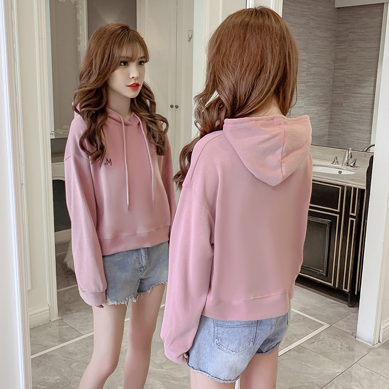 Fashion Street Hooded Sweatshirt for Women Autumn and Winter Casual Long-sleeved Solid Color Short Pullover Simple Hip Hop Top 81