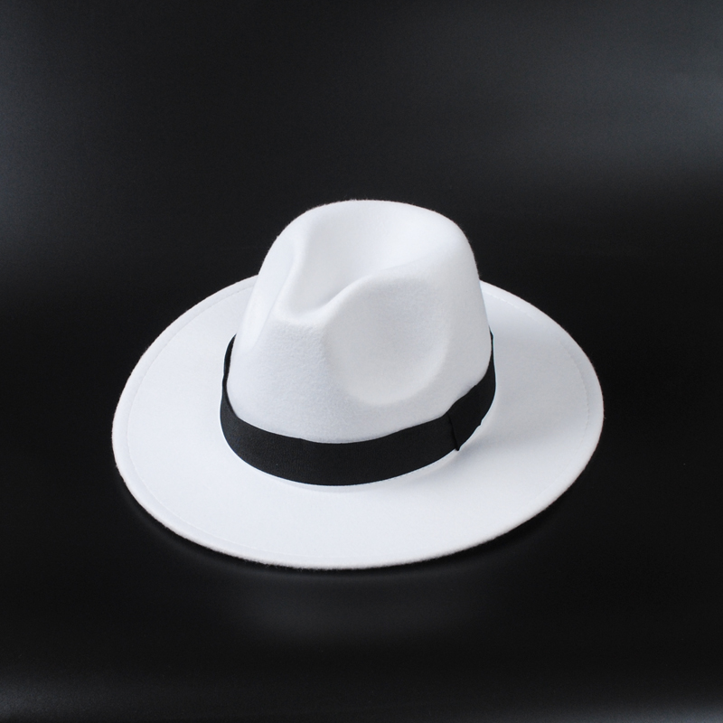 Hats Fedoras-Hat Jazz Felt Floppy Classic Party White Winter Women Panama-Cap Casual title=