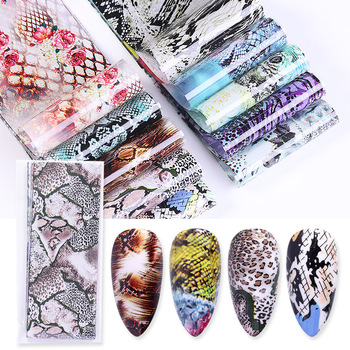 10 Pcs Rose Flowers Nail Foils Tropical Leaves Colorful Nail Decals Transfer Decorations Sets for Manicuring DIY Sticker Slide 41