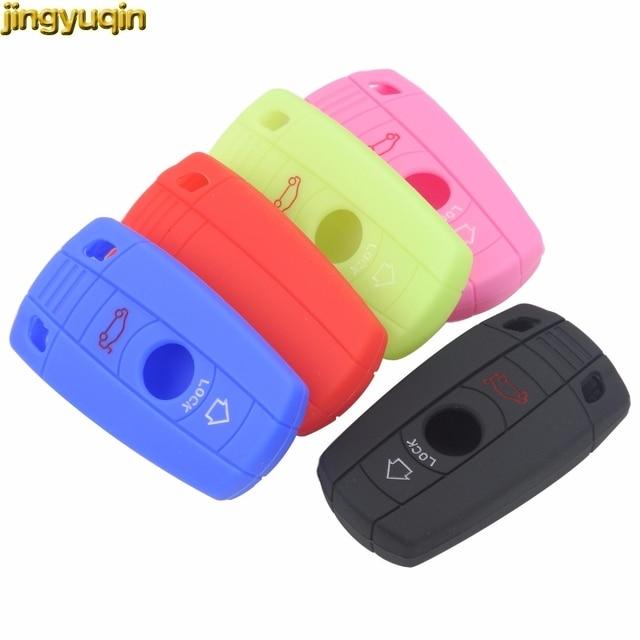 Jingyuqin 3 przyciski zdalnego silikonowy obudowa inteligentnego kluczyka samochodowego obudowa ochronna dla BMW E90 E60 E70 E87 3 5 6 seria M3 M5 X1 X5 X6 Z4
