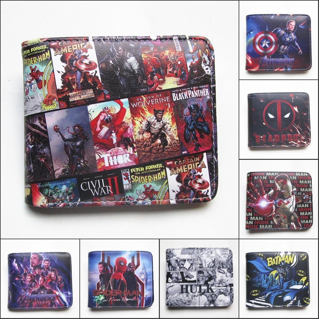 Comics Marvel Avengers Superhero Captain America Deadpool Iron Man Hulk Bifold Wallet Cartoon Coin Purse Gift