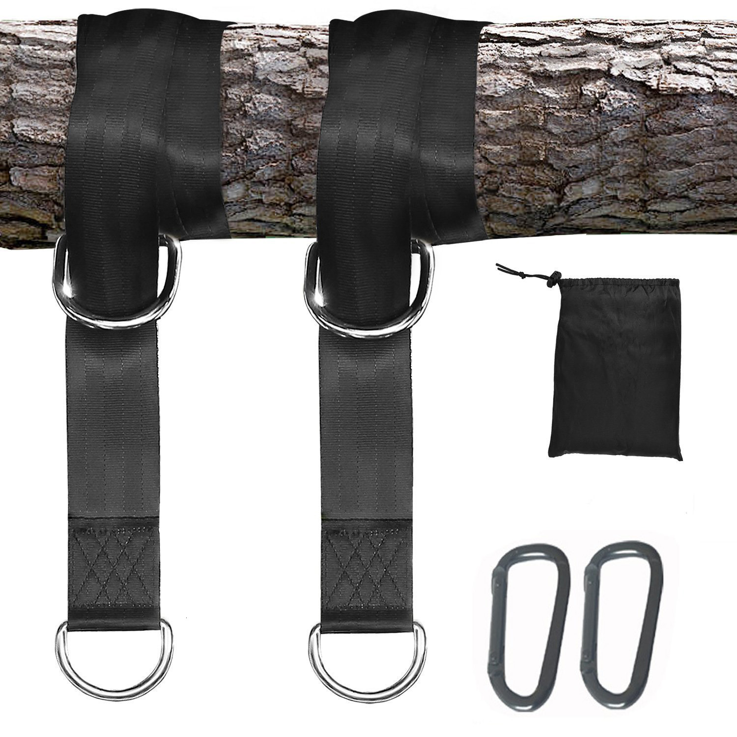 Outdoors Hammock Special Bandage 5*150cm 350 KG Load Capacity Hammock Straps Rope Carabiner