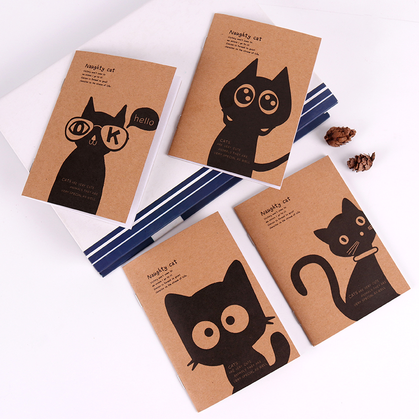 Kraft Paper Black Cat Notebook Vintage Notepad Copybook Daily Memos Kraft Cover Journal Note Books Office Stationery 1PC