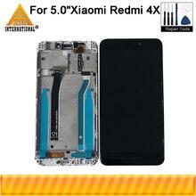 """Axisinternational original 5.0 """"para xiaomi redmi 4x redmi 4x pro tela lcd + painel de toque digitador quadro para redmi 4x"""