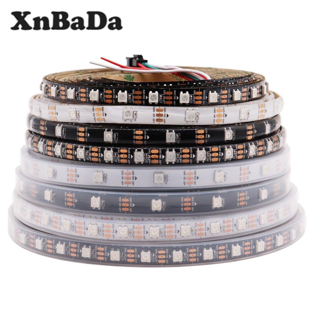 Светодиодная лента WS2812B, 5 в постоянного тока, 30/60/74/96/144 светодиодов/м, WS2812, черная/белая печатная плата IP30/65/67, умная Светодиодная лента RGB, 1 м, 4...