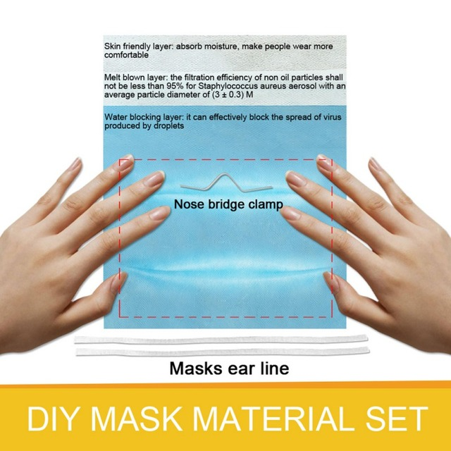 Top DIY Mask Set Non-woven Fabric Homemade Respiratory Filter Mask Dust-proof Bacteria Proof Flu Face Masks Care 4
