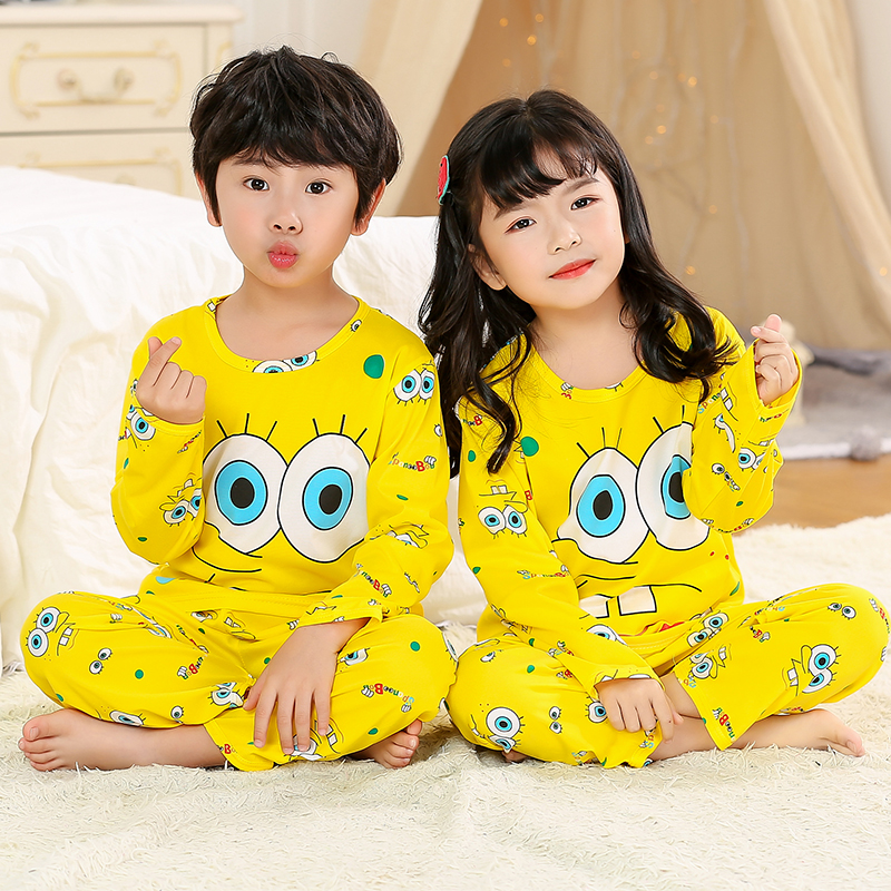 Pajamas     set   for children autumn summer Boys Girls Kids home Clothing Cartoon long Sleeve baby Sleepwear Suit Christmas Gift