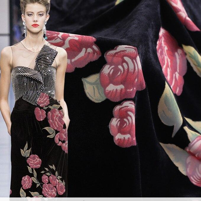 135cm de large burnout soie tissu mètre creux cheongsam robe soie velours tissu filé rayonne tissu en gros soie tissu
