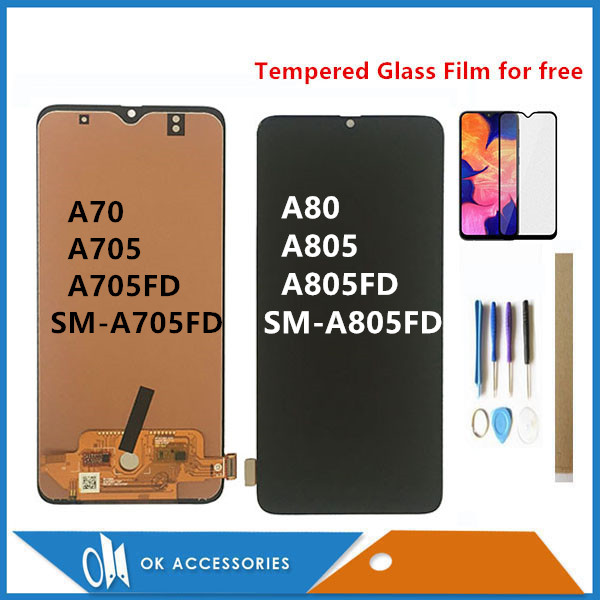 For <font><b>Samsung</b></font> galaxy <font><b>A70</b></font> 2019 A705 A705FD SM-A705FD / A80 A805 A805FD SM-A805FD <font><b>LCD</b></font> Display + Touch Screen Sensor Assembly + Kits image