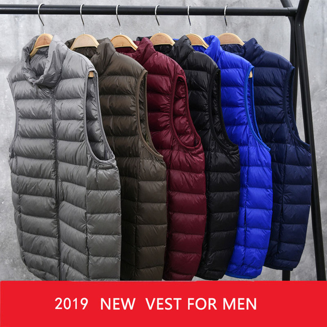 2019 New Winter White Goose Down Vest For Men Autumn Warm Casual Sleeveless Jacket Male Light Black Stand Collar Coat Mens WFY09