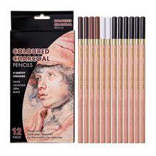 12pcs/box Soft Pastel Wood Pencil Crayon Charcoal Pencils for Sketching Drawing K3KE
