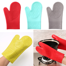 1 pc Kitchen Microwave Mitt Insulated Oven Heat Resistant Silicone Glove Oven Pot Holder Baking BBQ Cooking Non-slip gloves silicone freezer oven mitt 1 pair