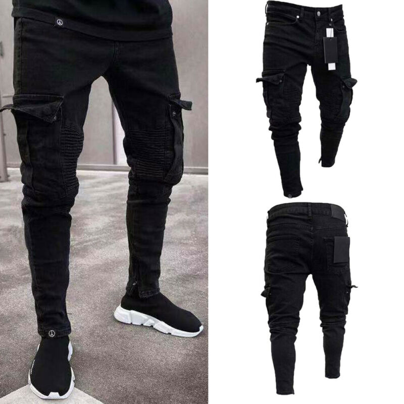 2019 Autumn Men's Pleated Fashion Slim Stretch Destroyed Ripped New Male Multi-pocket  Skinny Fit  Black Combat Cargo Pants