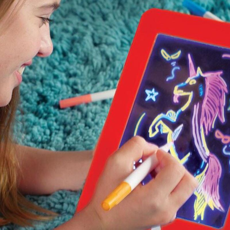 3D Magic Drawing Board Creative Kids Children Pen LED Lights Glow Art Sketchpad