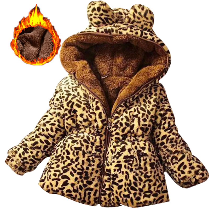 Winter full sleeve Leopard faux fox fur collar Children Girls coat Jacket Baby Girl Outerwear Hooded Infant Clothing Thick Warm 1