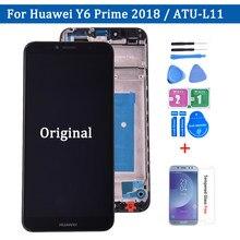 5.7 polegadas para huawei y6 2018 ATU-L11 ATU-L21, para y6 prime ATU-L22 tela lcd + tela sensível ao toque montagem do digitalizador