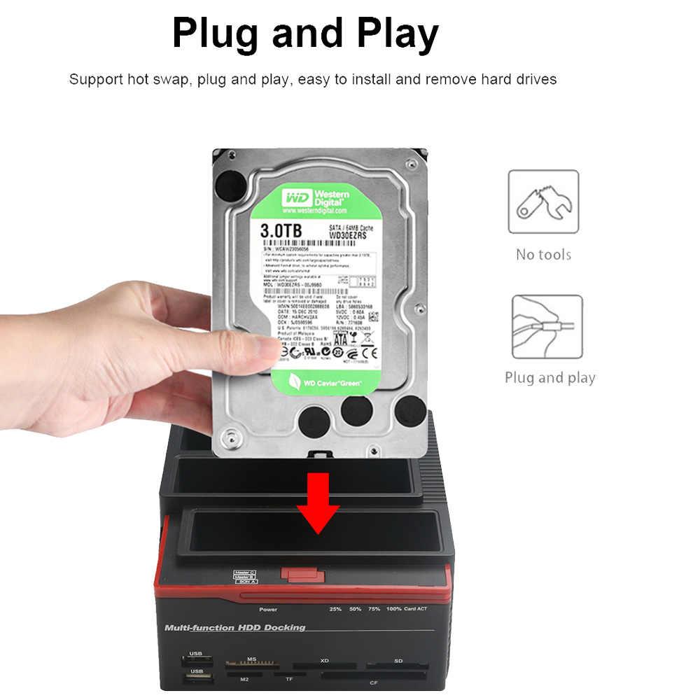 "2.5 ""/3.5"" USB 3.0 إلى 2 SATA 1 IDE HDD قرص صلب محطة الإرساء قارئ بطاقات USB3.0 M2 TF SD فتحة Hub"