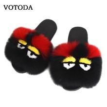 Women Monster Flip Flop Funny Slippers Fluffy Real Fox Fur Slides Mink Sandal Flat Non-slip Indoor Slipper Lady Cute Plush Shoes