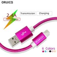 Cable de carga USB de nailon para móvil, Cable de carga rápida de 25cm, 1m, 2m, 3m para iPhone Xs, 8, 7, 6S Plus, Xiaomi, 8, Samsung S8, S9, iPad, V8