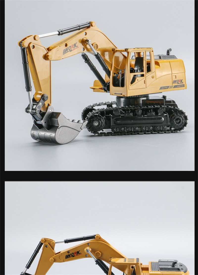 8 Channel RC Truck Excavator Alloy Backhoes Bulldozer Remote Control Digger Engineering Vehicle Model Electronic Kids Hobby Toy
