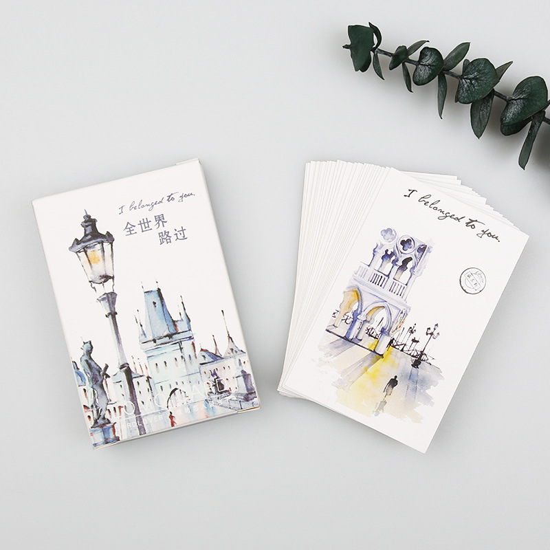 28 Sheets/Set Passing The World Hand Painted Watercolor City Lomo Card/Greeting Postcard/Birthday Letter Gift Card