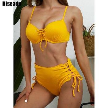 Riseado High Waist Bikini Push Up Swimwear Women's Swimsuit 2021 Yellow Bikinis Lace Up Sexy Biquini Strap Bathing Suit Summer 1