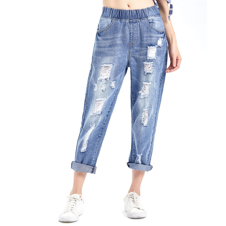 2019 Summer Plus Size Jeans Woman Korean Edition Elastic High Waist Ripped Hole Casual Ankle-length Denim Harem Pants Streetwear