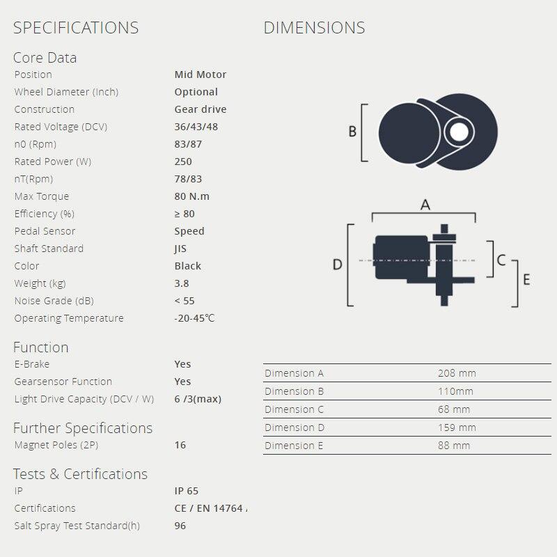 36V 250W motor data