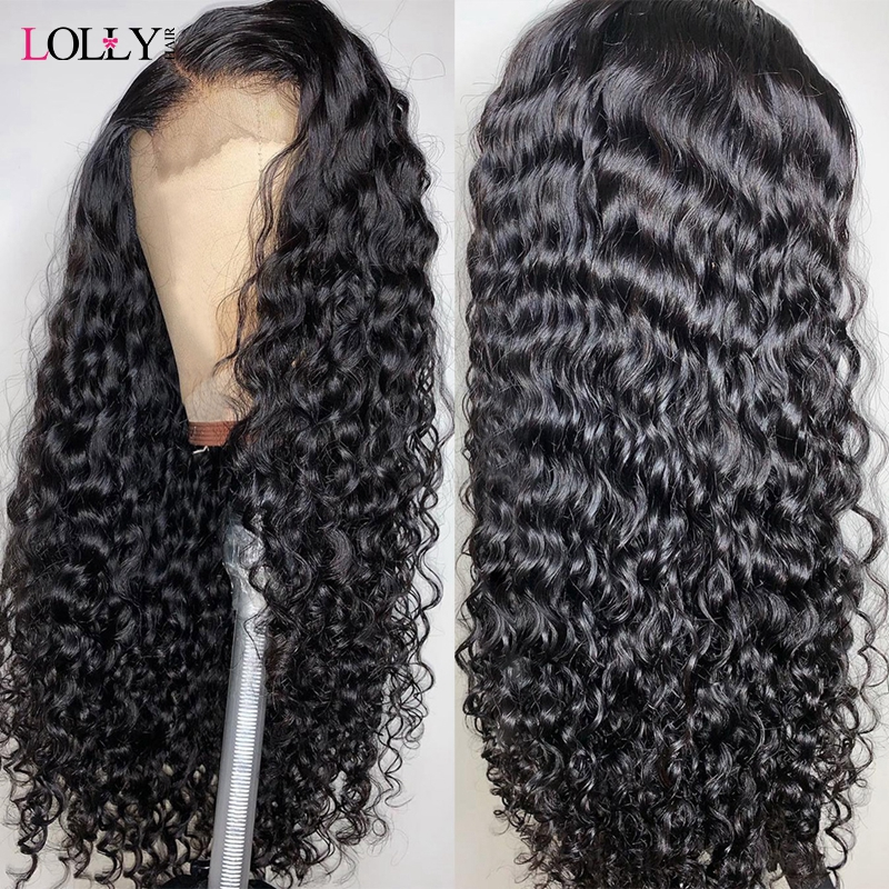 Lolly Brazilian Lace Front Human Hair Wig 13x4 13x6 Water Wave Wig Lace Frontal Pre Plucked 150% Density Remy Lace Wig Black