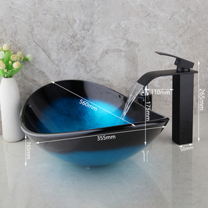 Image 2 - Torayvino Bathroom Wash Basin set lavabo Sink Tempered Glass Hand Painted Waterfall Taps Brass black Faucet Mixer sink Tap Set