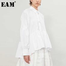 [EAM] kobiety białe Ruffles Big Size bluzka nowa z klapami z długim rękawem luźna koszula moda fala wiosna jesień 2020 19A-a197 tanie tanio COTTON REGULAR Skręcić w dół kołnierz NONE Pełna Na co dzień Jersey Stałe 19A-a197-00-S white