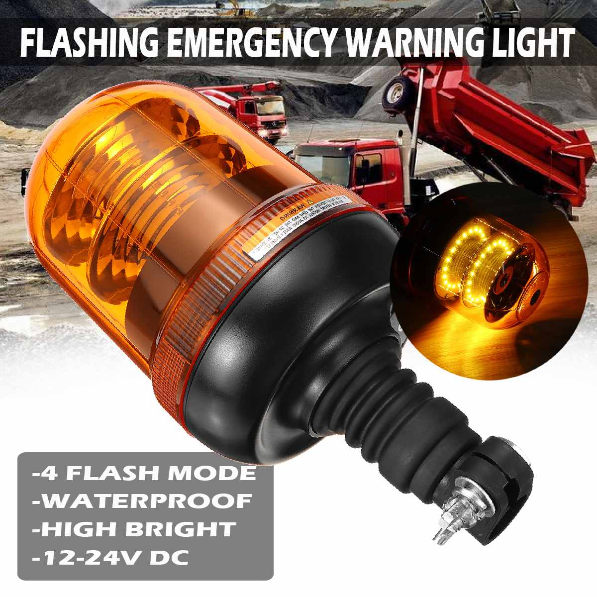 Amber Beacon Working light for Tractor Super Bright Flashing Emergency Warning Light 40 Led car truck strobe warning light E9