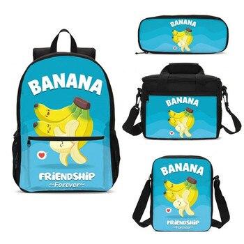 4Pcs/Set Portfolio School Bags For Boys Girls Funny Cartoon Banana 3D Printing Backpacks Teenage Kids Bookbag Mochila Escolar