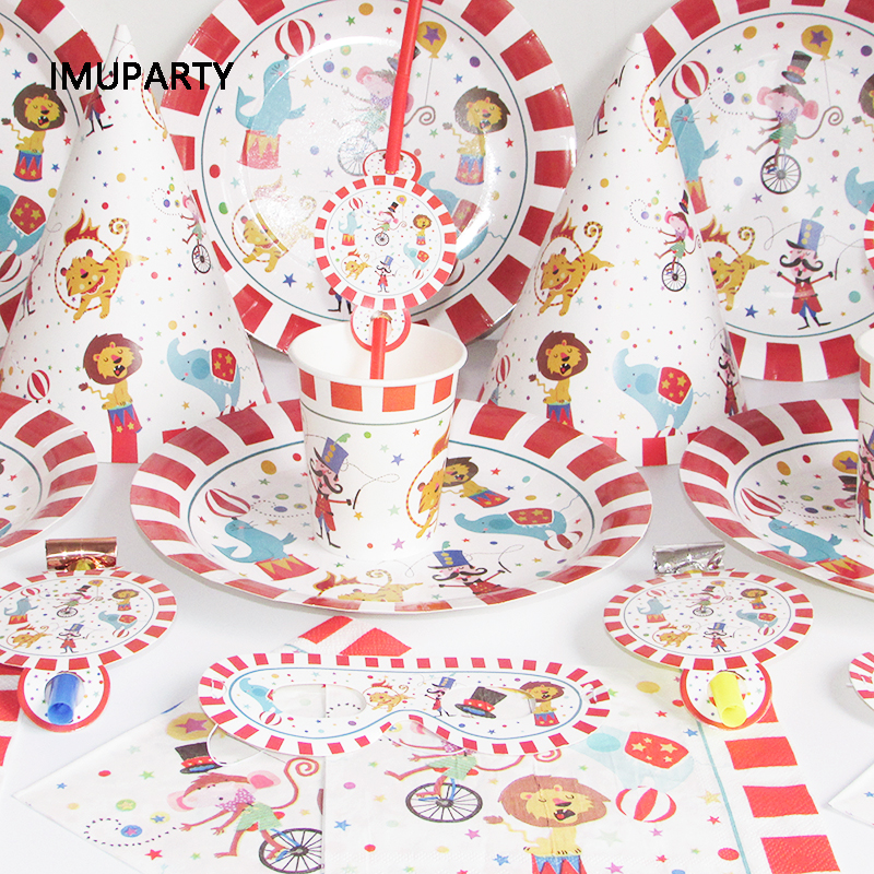 Circus Theme Party Decorations Red Striped Animals Disposable Tableware Set Kids Birthday Party Supplies Baby Shower Garland