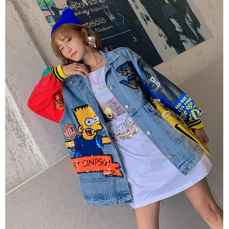 2019 Autumn cartoon sequins designs denim jackets fashion women long jackets in Jackets from Women 39 s Clothing