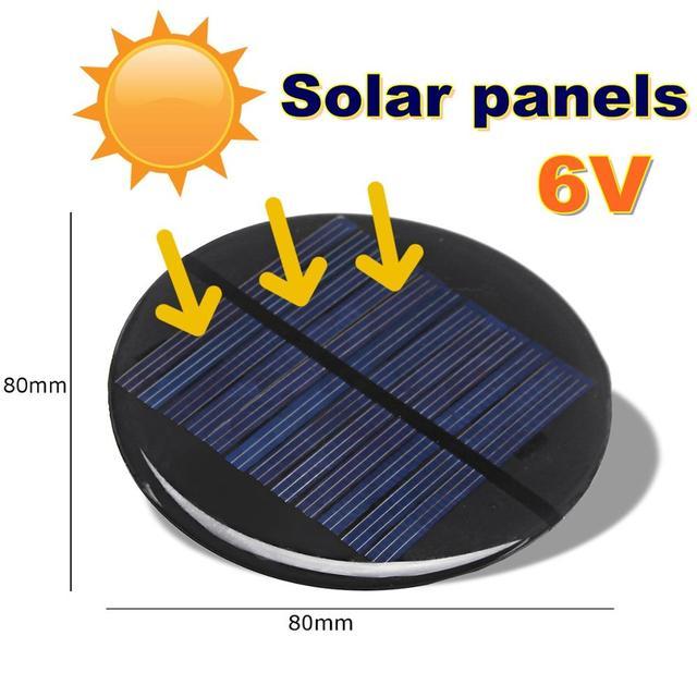 CLAITE Solar Power 6V 2W 0.35A 80MM DIY Mini Polycrystalline Silicon Solar Cell Module Circle Round Solar Panel Epoxy Board 1