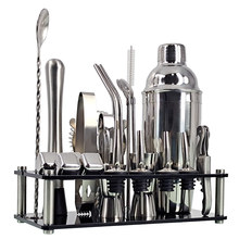 Bartender Kit 23-Piece Cocktail Shaker Set Of Stainless Steel Ice Grain Acrylic Stand For Mixed Drinks Martini Bar Tools