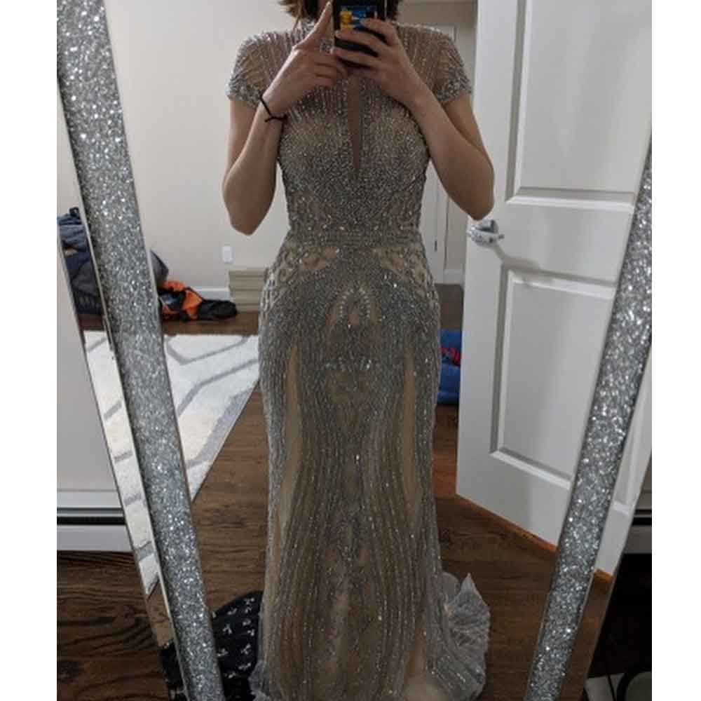 Image 2 - 2019 Luxury Diamond Sleeveless Nude Mermaid Long Sexy Evening Pageant Dresses Formal Gown Robe De Soiree Dubai Design OL103466-in Evening Dresses from Weddings & Events