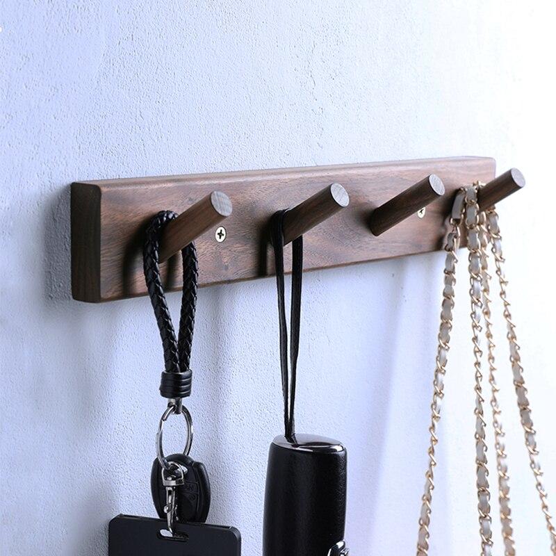 Японский стиль массив дерево 5 крючки ряд крючок вешалка длинный полоса настенный черный орех пальто крючок бесплатно пуансон прочный липкий крючок