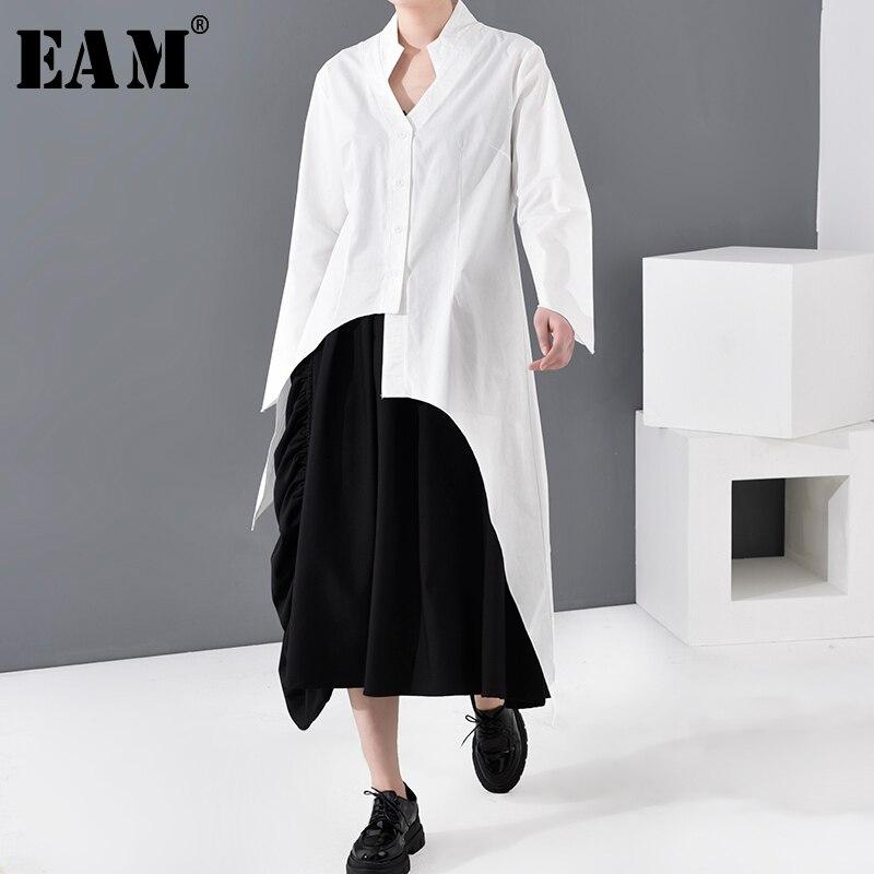 [EAM] Women White Asymmetrical Long Blouse New V-collar Long Sleeve Loose Fit Shirt Fashion Tide Spring Autumn 2020 1R30400