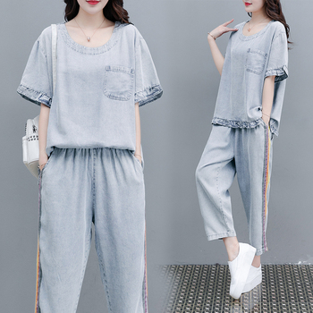 new summer women's fashion loose distressed denim tops+jeans suits female vintage casual two-piece sets 2019 spring hip hop clothes fashion letter printing tops light green pants suits female casual loose 2 piece sets