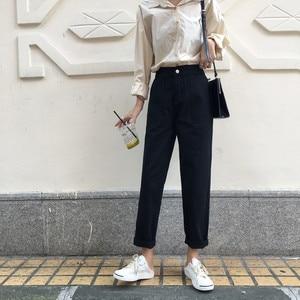 Image 4 - กางเกงยีนส์ผู้หญิงสูงเอวหลวมๆหลวมๆกางเกงขากว้างสตรีนักเรียน DENIM แฟชั่นสไตล์ใหม่ทั้งหมด  match CHIC