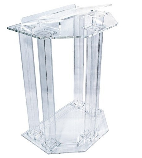 Fixture Displays Podium, Clear Ghost Acrylic W/ 110V Lighted Cross Pulpit, Lectern - Assembled  Assembled Plexiglass
