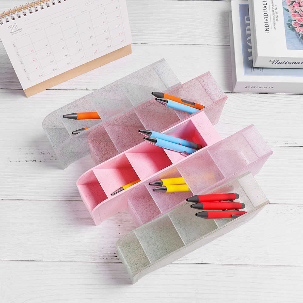 4 Grid Diagonal Pencil Holder Desktop Organizer Storage Box Pen Barrel Sundries Case Multifunctional Stationery School Supply