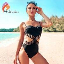 Andzhelika เซ็กซี่ One piece Push Up ชุดว่ายน้ำชุดว่ายน้ำ Patchwork ตาข่าย Backless ชุดว่ายน้ำ Monokini สุภาพสตรีชุดว่ายน้ำ