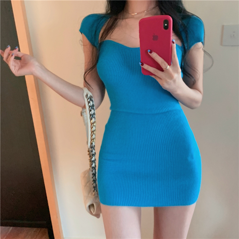 Summer Sexy Club Knitted Mini Dress Women Short Sleeve Sheath Bodycon Dress Party Dress Vestidos