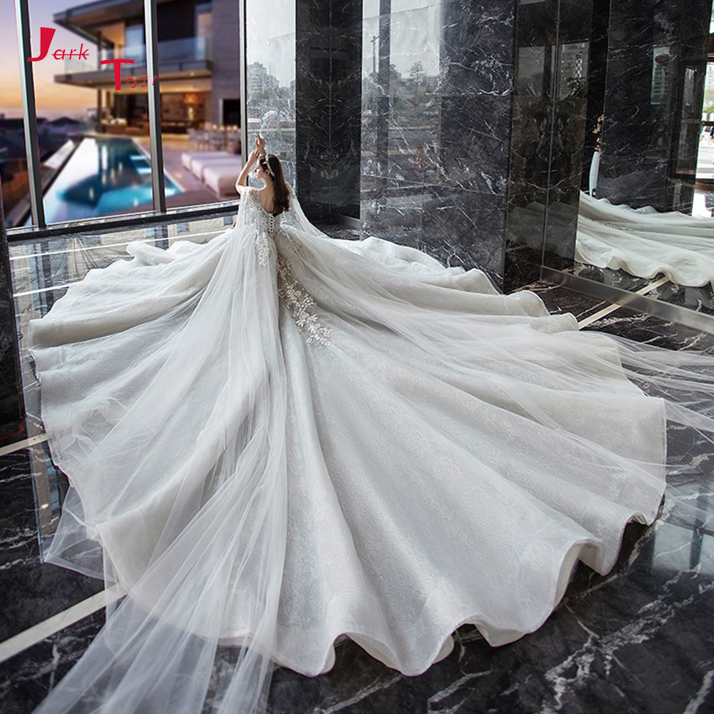 Robe De Mariee Princesse De Luxe Shiny Beading Sequins Lace Appliques Flowers Luxury Ball Gown Wedding Dress With Shawl Wedding Dresses Aliexpress